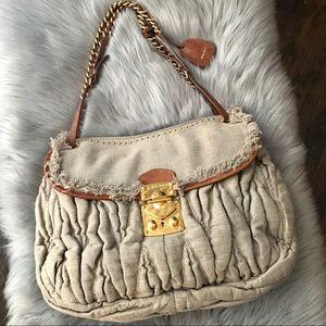 Rare Miu Miu Leather-Trimmed Matelasse Linen Bag